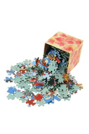 jumble: Jigsaw Puzzle Pieces on White Background Stock Photo