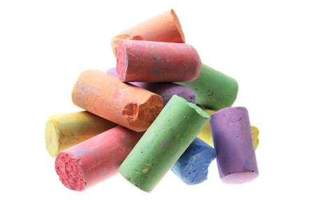 white chalks: Color Chalks on White Background Stock Photo