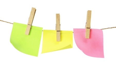 Sticky Notes on Clothes Line with White Background photo