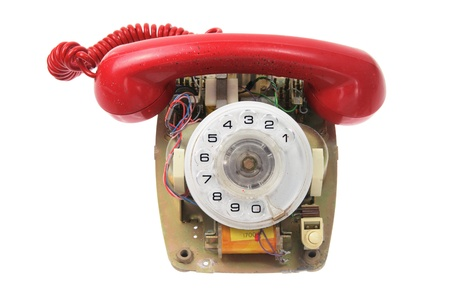 Old Dial Phone on White Background photo