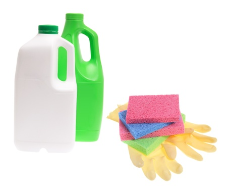cleaning products: Cleaning Products on White Background Stock Photo