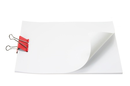 foldback: Blank Papers with Paper Clip on White Paper