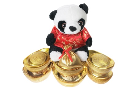 soft toy: Panda Soft Toy and Ingots on White Background
