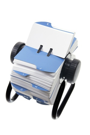 rolodex: Rotary Card Index on White Background Stock Photo