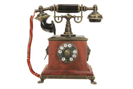 Antique Phone on White Background photo