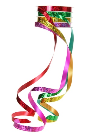 Roll of Gift Ribbons on White Background photo