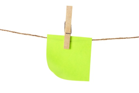 clothespegs: Sticky Note and Clothes Line on White Background