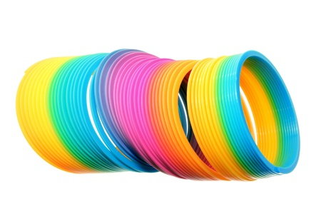 Coiled Spring Toy on White Background photo