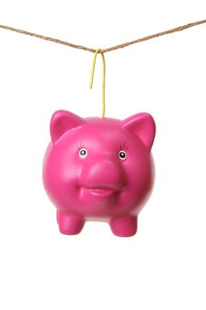 Hanging Piggy Bank on White Background photo