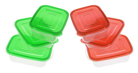 airtight: Plastic Containers on White Background Stock Photo
