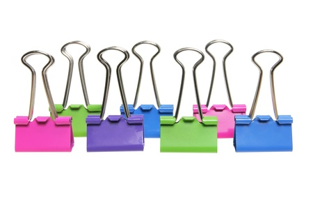 foldback: Paper Clips on White Background Stock Photo
