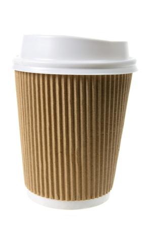 cardboard cutout: Coffee Cup su sfondo bianco