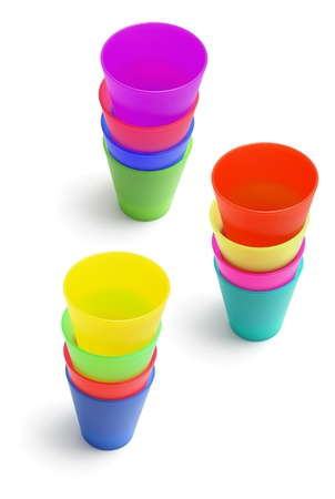 Stacks of Plastic Cups on White Background Stock Photo - 11863602