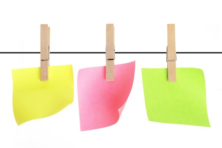 clothespegs: Sticky Notes with Clothes Pegs Stock Photo