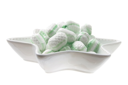 Mint Lollies on White Background photo