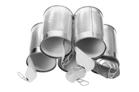 tin cans: Tin Cans op een witte achtergrond
