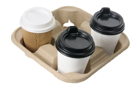 takeaway: Takeaway Coffee Cups on White Background