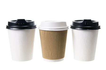 Takeaway Coffee Cups on White Background photo