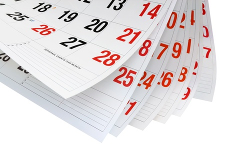 weeks: Calendar Pages on White Pages Stock Photo
