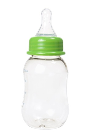Baby Milk Bottle on White Background Stock Photo