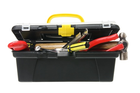 doityourself: Tool Box on White Background Stock Photo