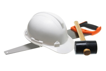 Hard Hat and Hardwear on White Background Stock Photo - 12658058