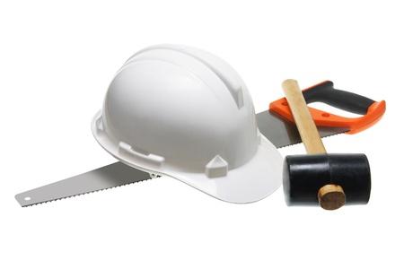 Hard Hat and Hardwear on White Background Stock Photo - 12658058