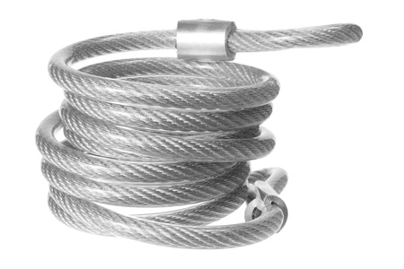 Steel Rope on White Background Stock Photo