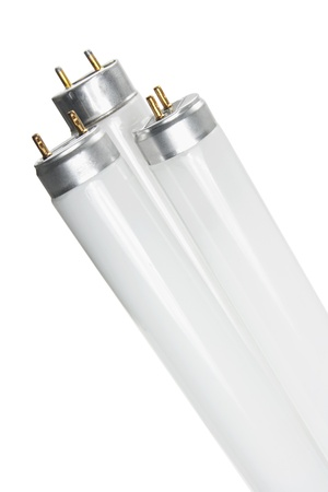 Fluorescent Tubes on White Background photo