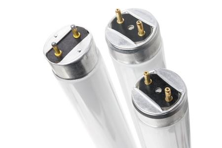 tubos fluorescentes: Los tubos fluorescentes en el fondo blanco Foto de archivo