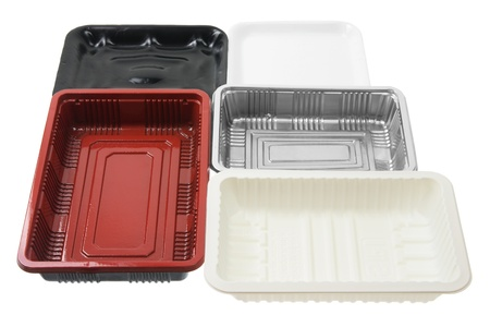 Food Trays on White Background Stock Photo - 12927991