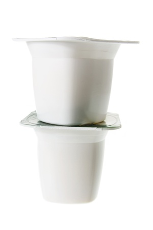 Tubs of Yoghurt on White Background Stock Photo - 12927498
