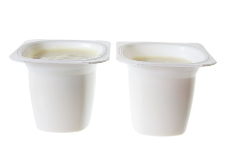 Tubs of Yoghurt on White Background Stock Photo - 12927497