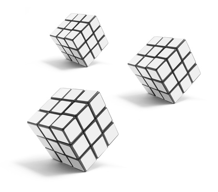 brain teaser: Puzzle Cubes on White Background