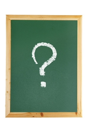 Blackboard with Question Mark on White Background