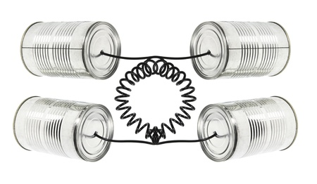 Tin Can Telephones on White Background Stock Photo - 13068988