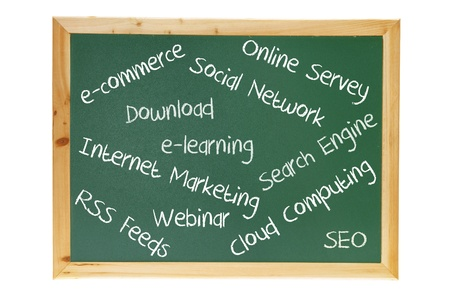 Blackboard with Internet Concepts on White Background photo