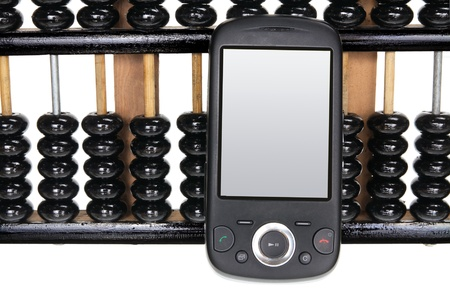Smart Phone on Abacus photo