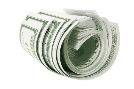 Roll of Banknotes on White Background Stock Photo - 13134364