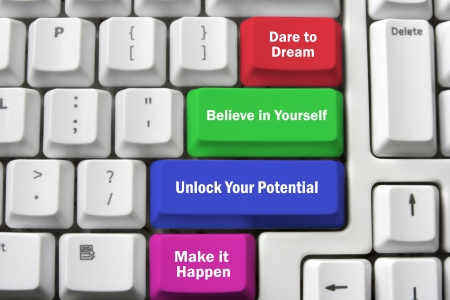 encouragement: Computer Keyboard with Inspirations on White Background