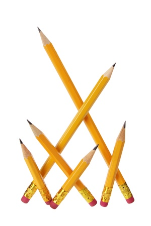 writing implements: Pencils on White Background Stock Photo