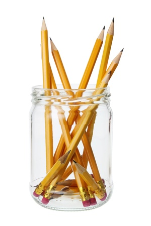 Pencils in Jar on White Background photo