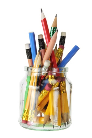 Pencils in Glass Jar on White Background Stock Photo - 13252487