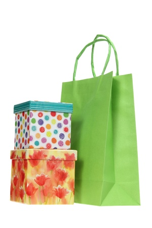Gift Boxes and Shopping Bag on White Background photo