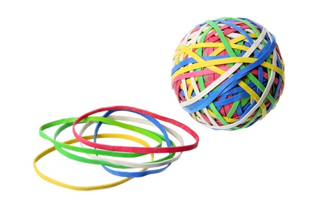 Rubber Band Ball on White Background photo