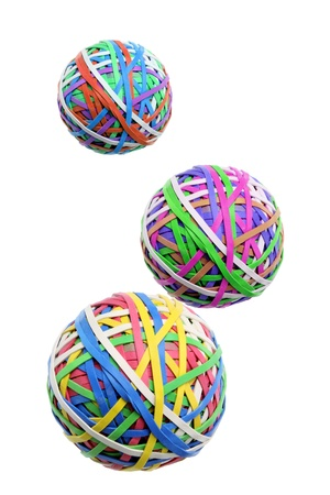gridlock: Rubber Band Balls on White Background Stock Photo