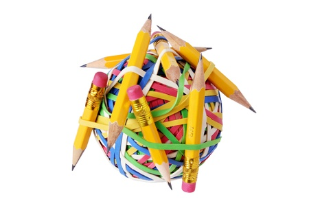 writing implements: Pencils and Rubberband Ball on White Background Stock Photo