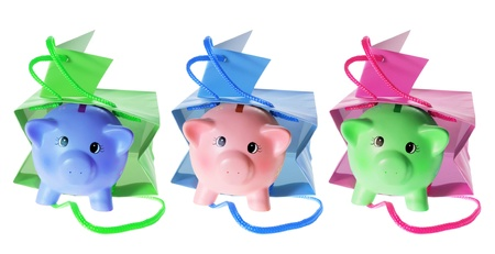 paperbags: Piggy Banks with Gift Bags on White Background