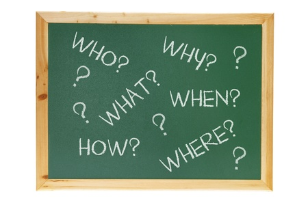 interrogations: Black Board with Questions on White Background