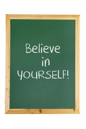 Blackboard with Motivation on White Background photo